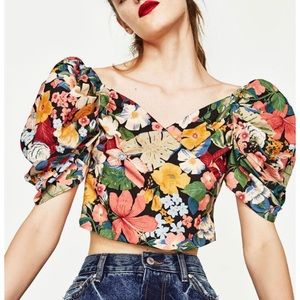ZARA   Vintage Style Floral Full Sleeve Top Blouse